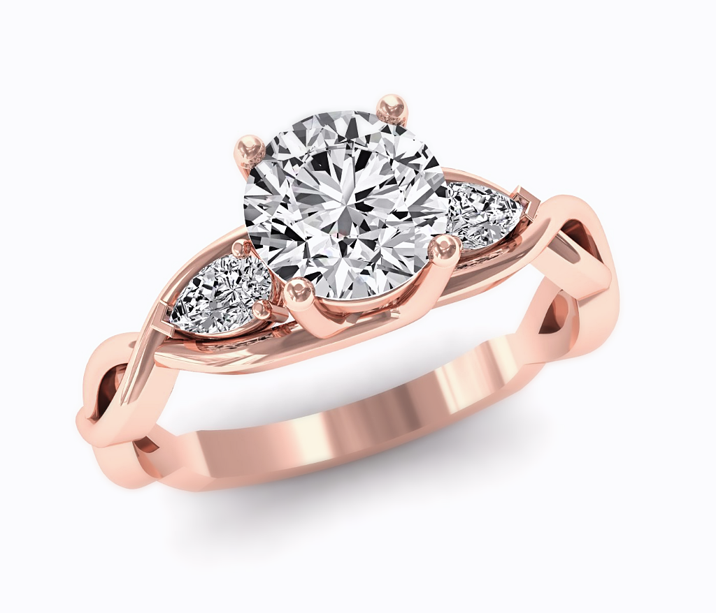 Rose Gold Moissanite & Diamond 3 Stone Engagement Ring