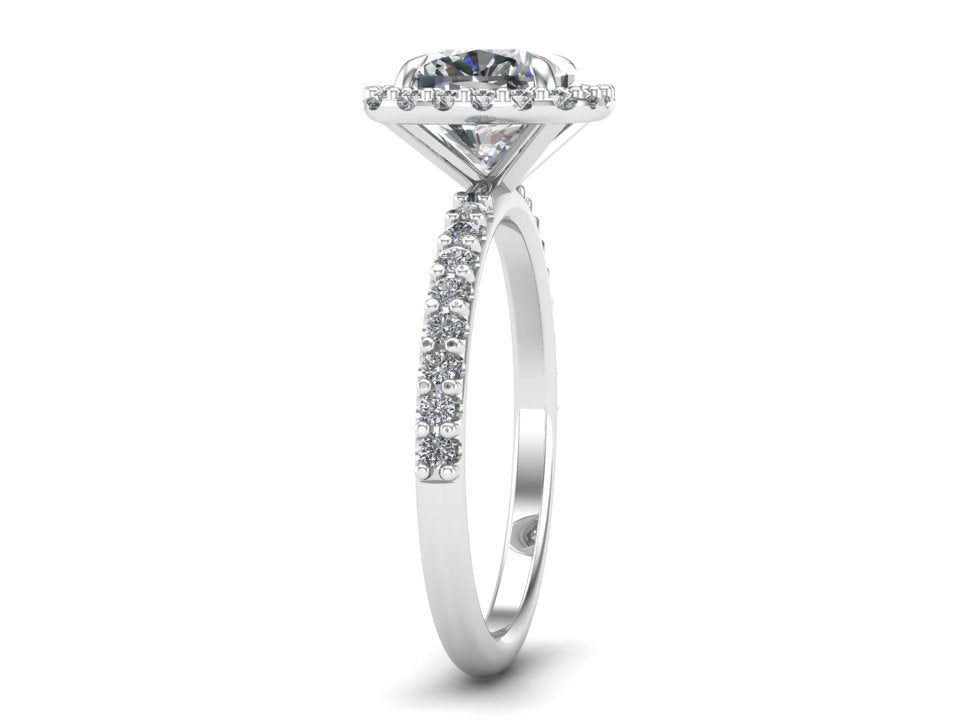 Cushion Halo Moissanite & Diamond Ring