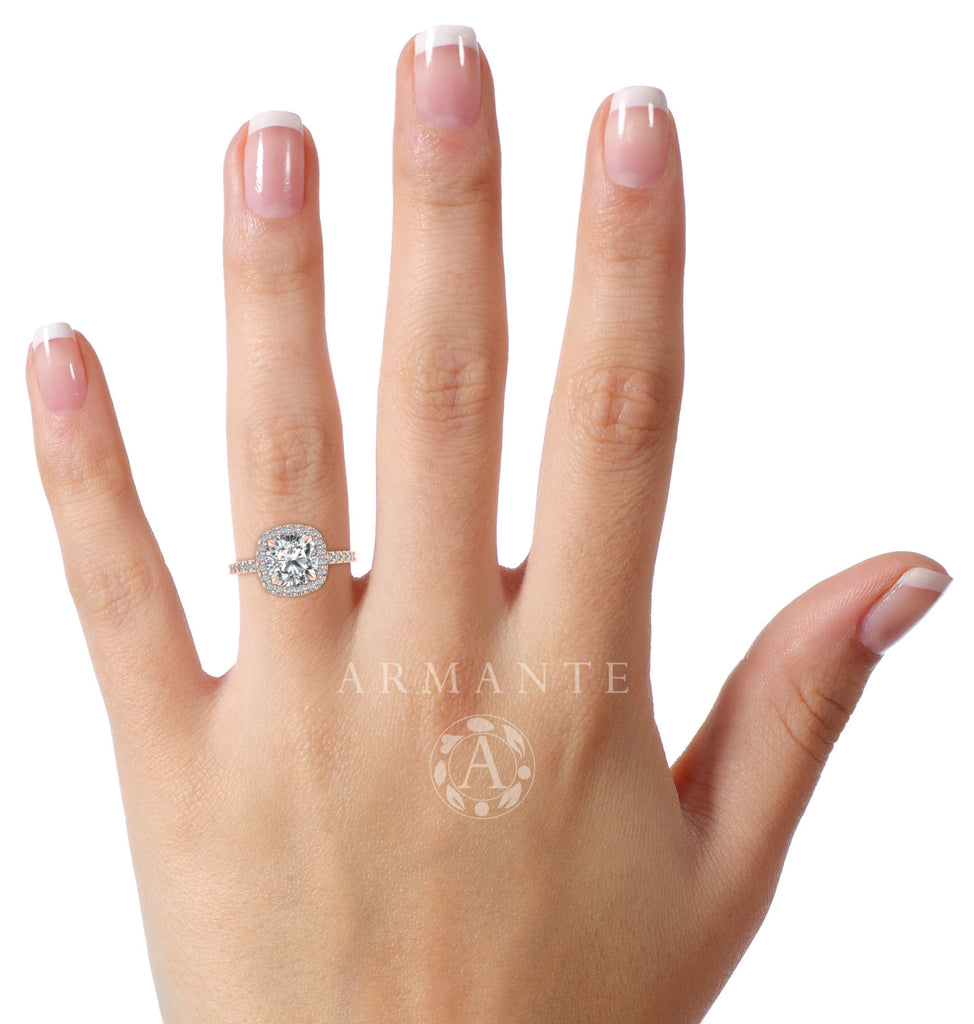 Cushion Cut Forever One Moissanite Ring