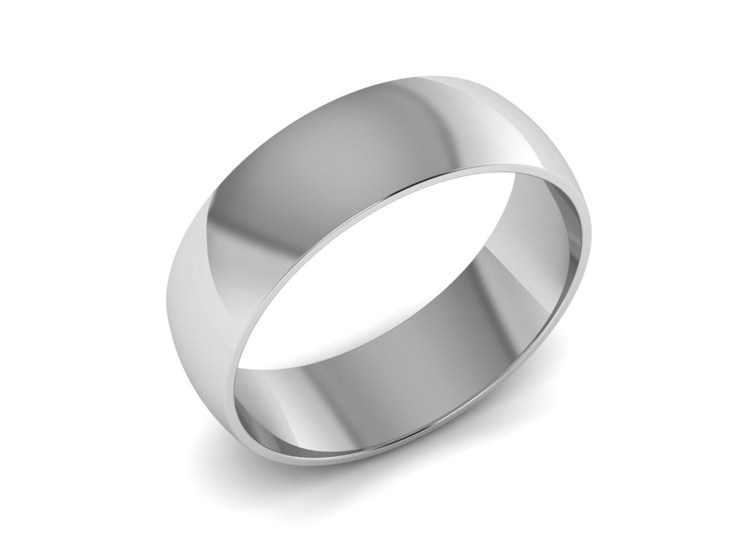 Men\'s White Gold Wedding Band, 7.00mm Wide Ring
