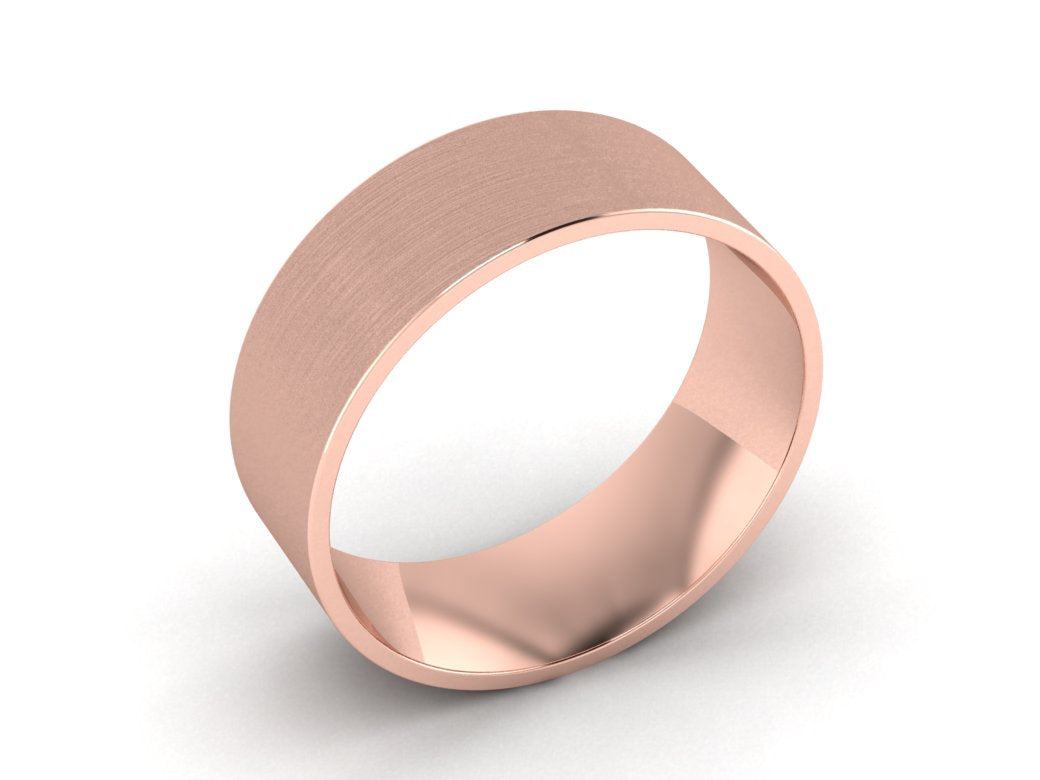 Mens 8 00mm Rose Gold Wedding Band Hand Made