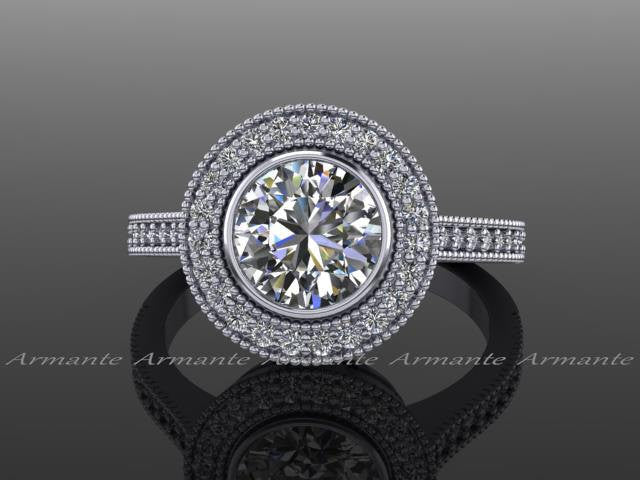 Halo Vintage Style Moissanite & Diamond Engagement Ring