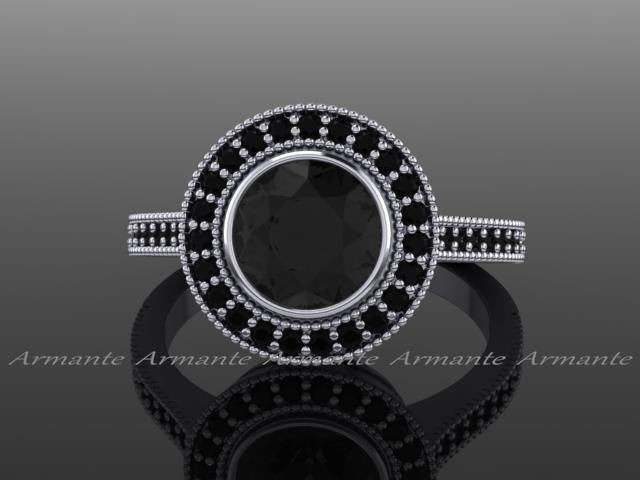 Black Diamond Vintage Style Halo Engagement Ring
