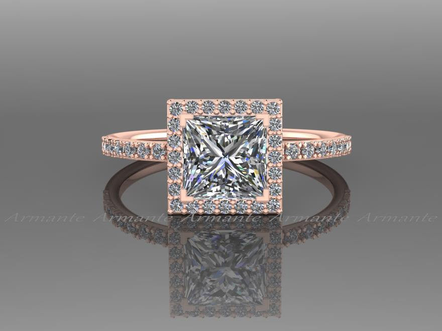 Princess Cut  Moissanite  Engagement Ring, 14K Rose Gold Diamond And 1.30 carat Square Moissanite Halo Ring, Wedding Ring RE57.6R