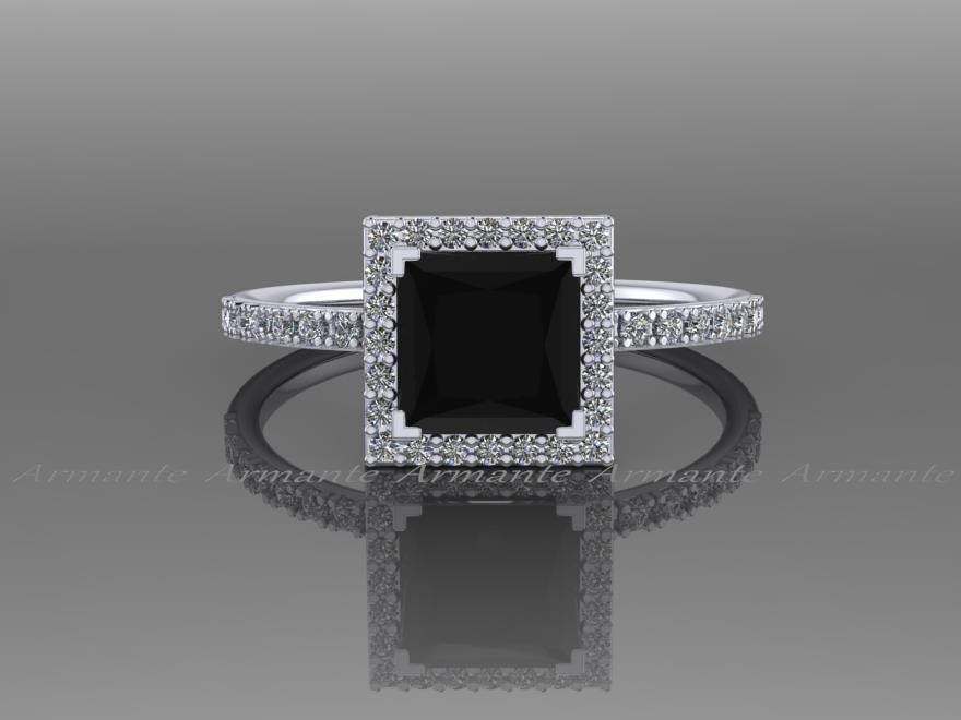 Black Diamond Princess Cut Engagement Ring