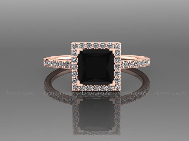 14K Rose Gold Black Diamond Princess Cut Engagement Ring
