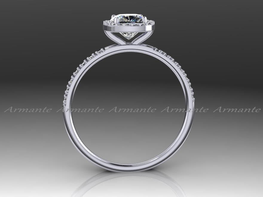 Petite Forever One Moissanite Halo Diamond Engagement Ring
