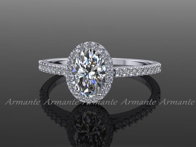 Forever One Oval Moissanite & Diamond Engagement Ring