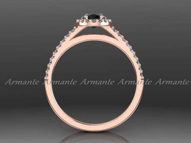 Oval Cut Black Diamond Engagement Ring, 14K Rose Gold