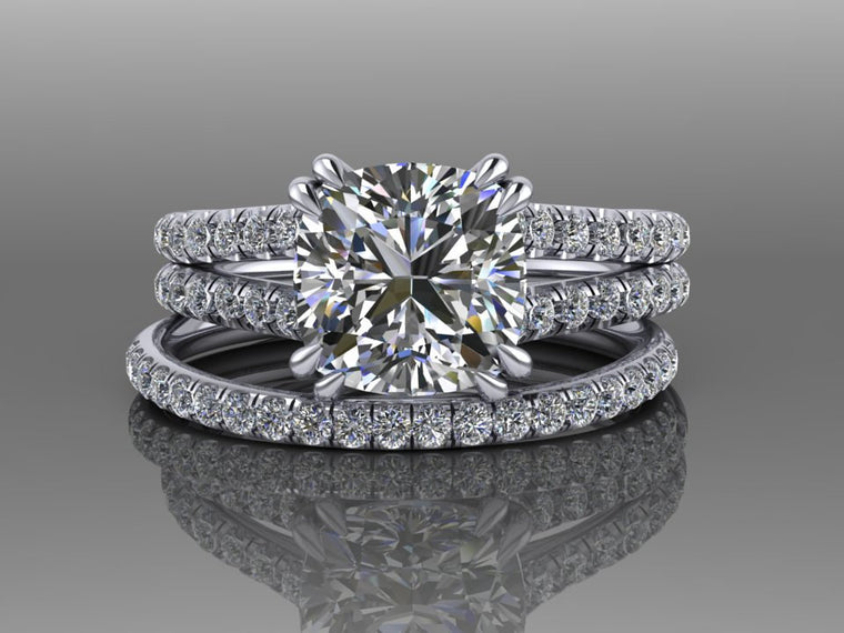 Cushion Cut Bridal Set Moissanite & Diamond Wedding Ring Set