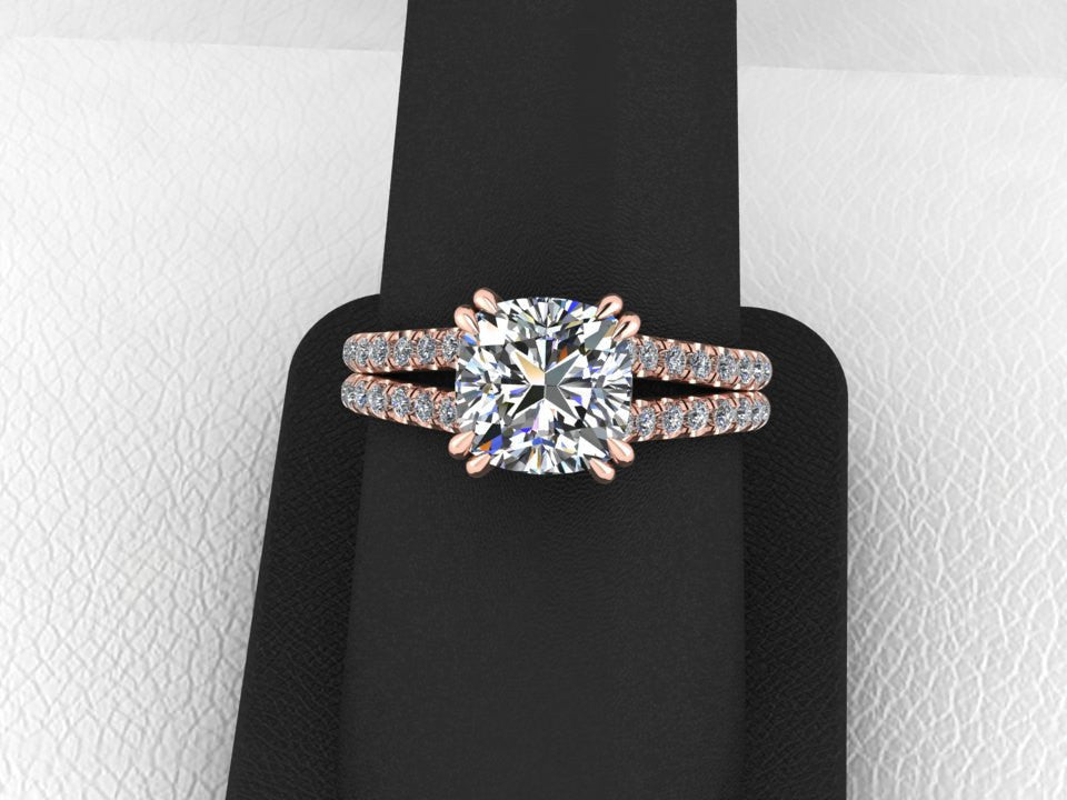Cushion Cut Moissanite 18K Rose Gold Wedding Ring
