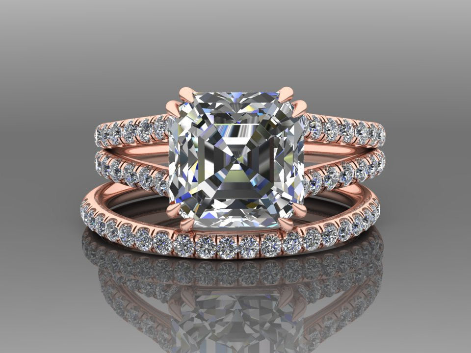 Rose Gold Ascher Cut Moissanite Engagement Set