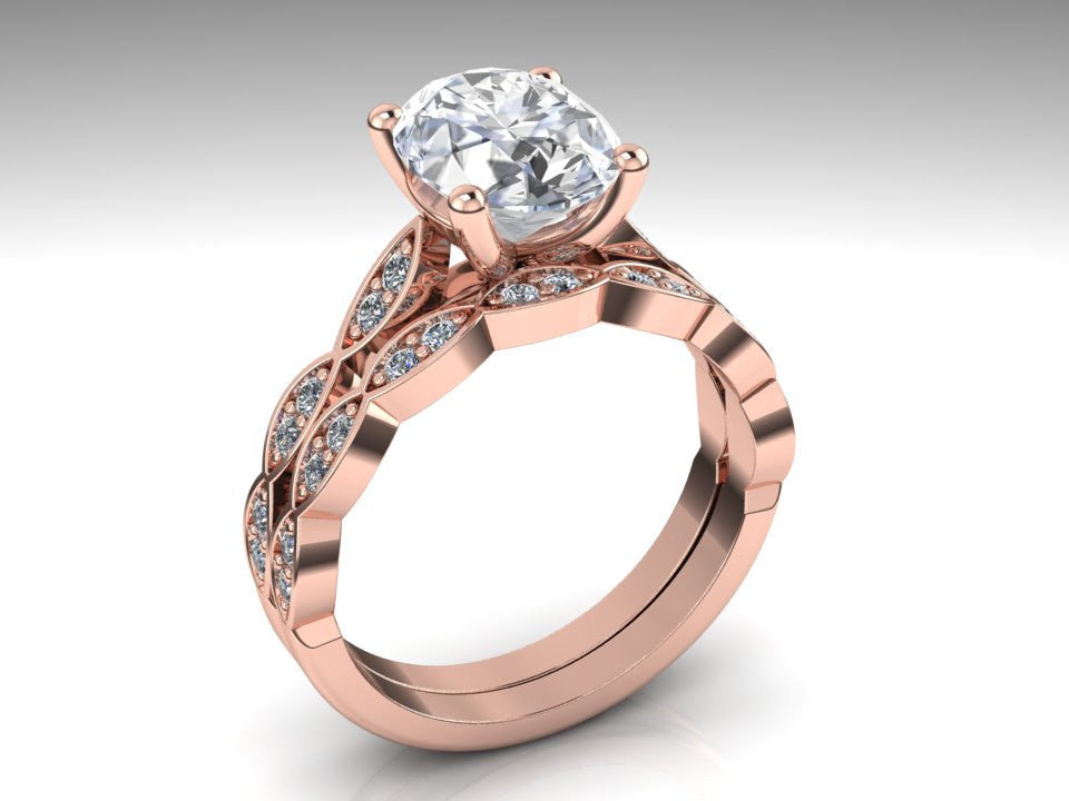Rose Gold Oval Forever One Moissanite Engagement Ring Set