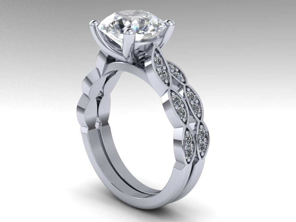 Forever One Moissanite Wedding Rings Set