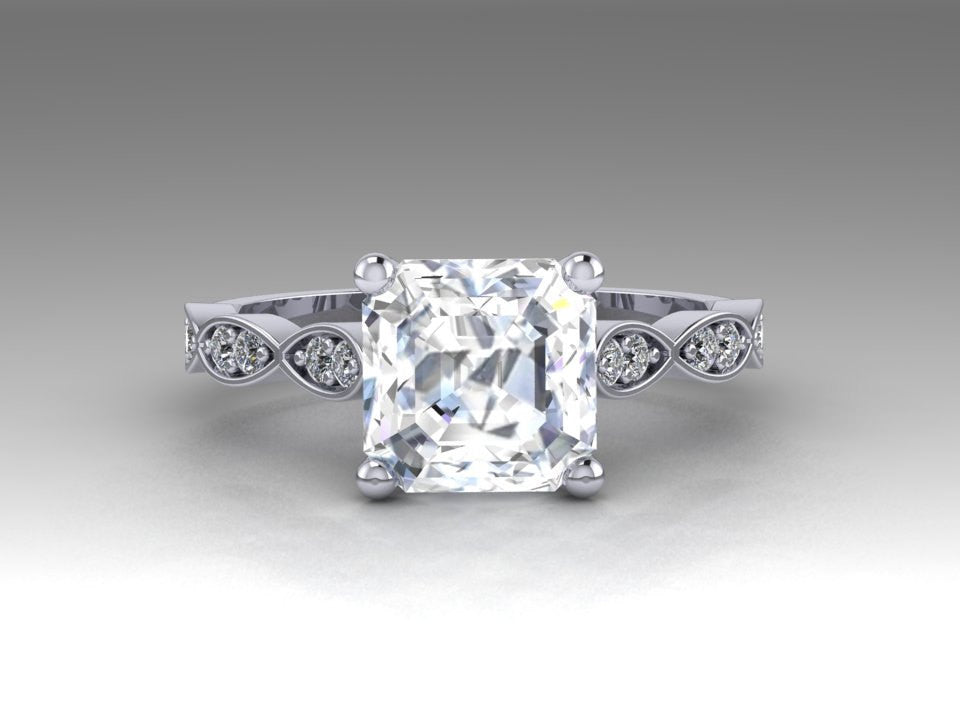 Asscher Cut Moissanite & Diamond Leaf Band Wedding Ring