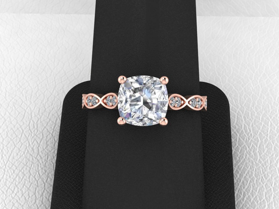 Cushion Cut Forever One Moissanite and Diamond Wedding Ring