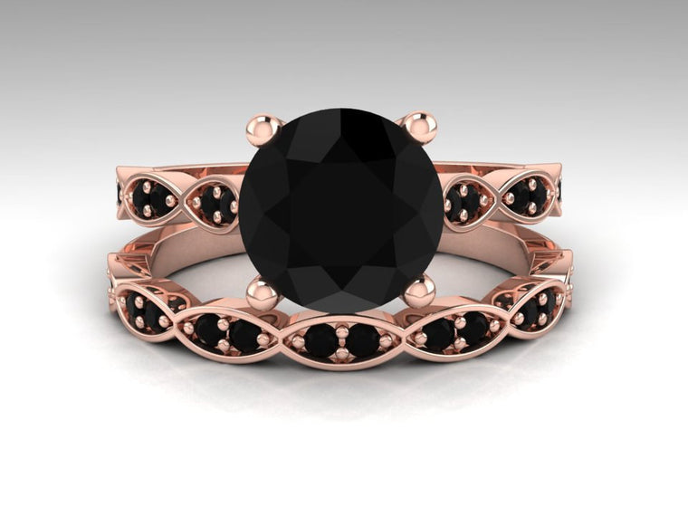 Rose Gold Bridal Ring Set, Black Diamond Engagement Ring Set