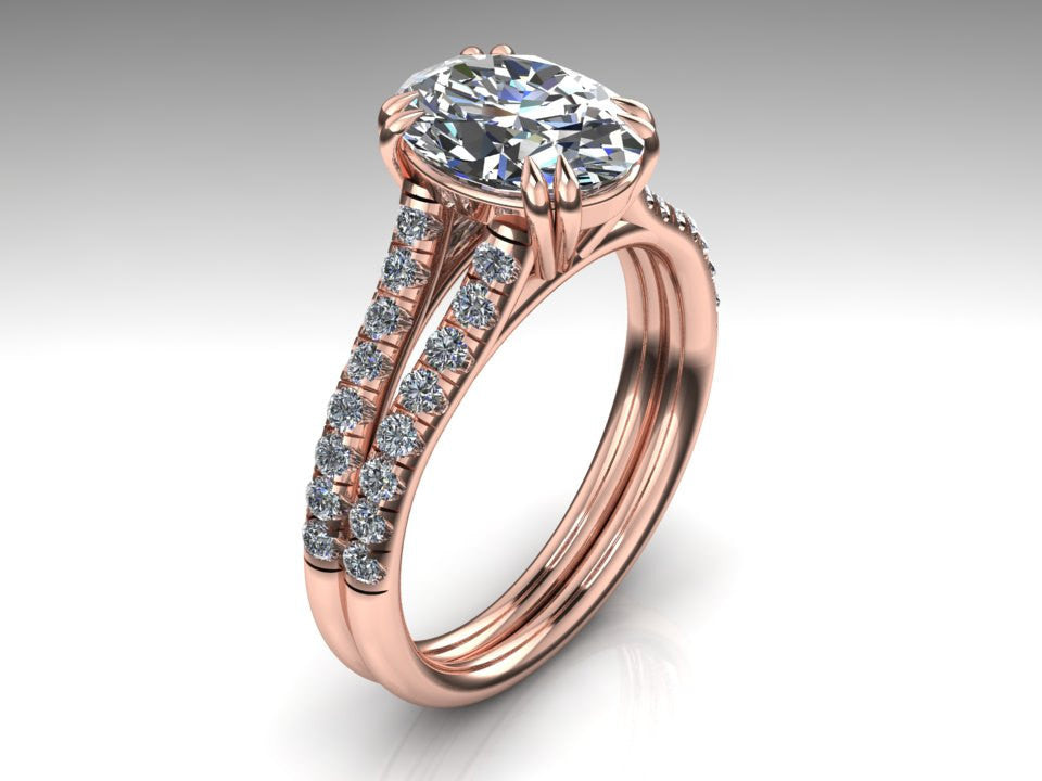 Oval Cut Engagement Ring, 18K Rose Gold