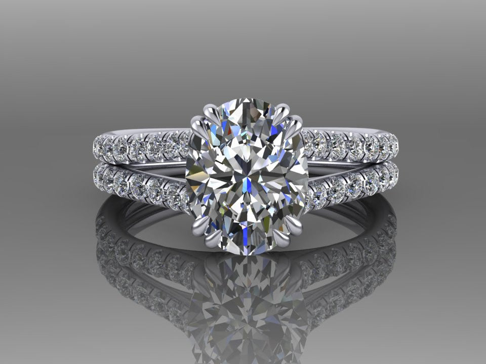 18K White Gold Oval Cut Engagement Ring