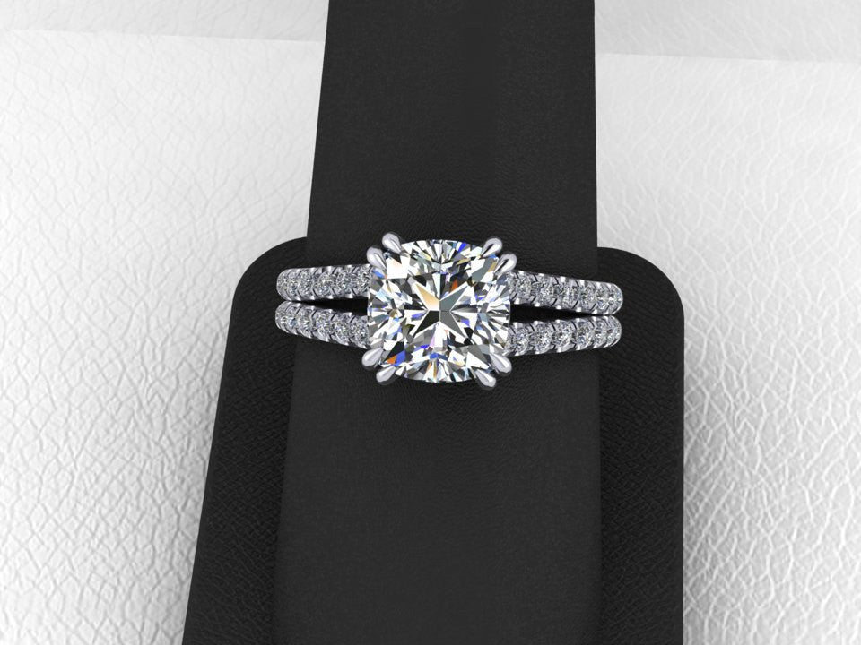 Forever One Moissanite & Diamond Engagement Ring White Gold