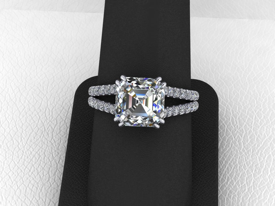 Forever One Moissanite Wedding Ring Split Shank Diamond Ring