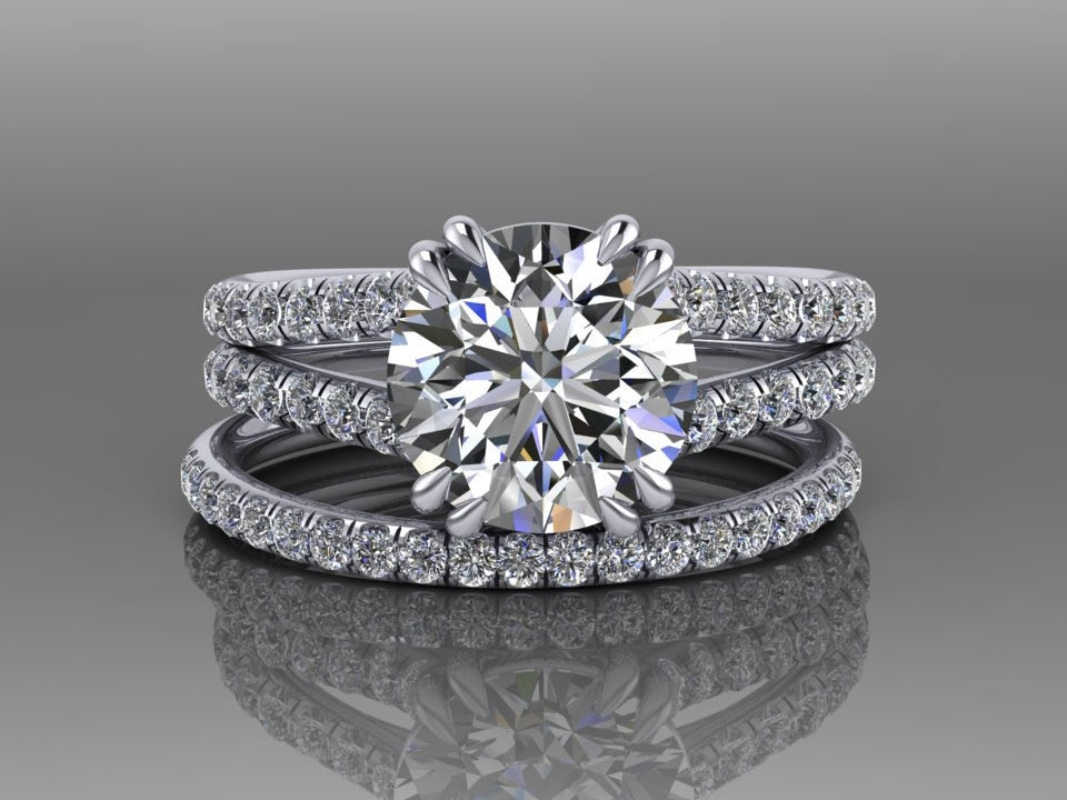 Forever One Round Moissanite and Diamond Engagement Ring Set