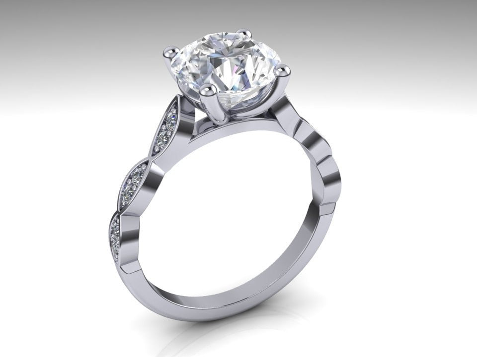 Forever One Moissanite & Diamond Solitaire Engagement Ring