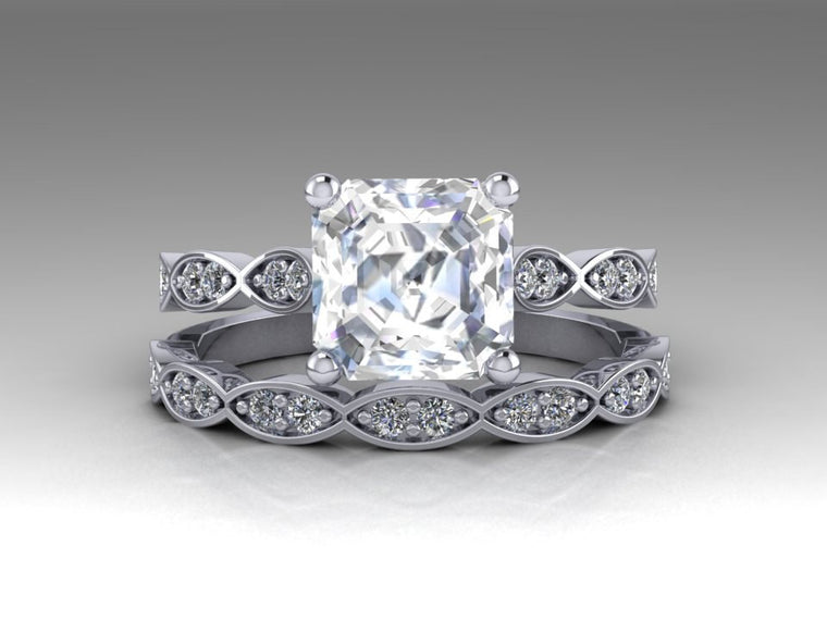 Forever One Moissanite Asscher Cut Engagement Ring Set