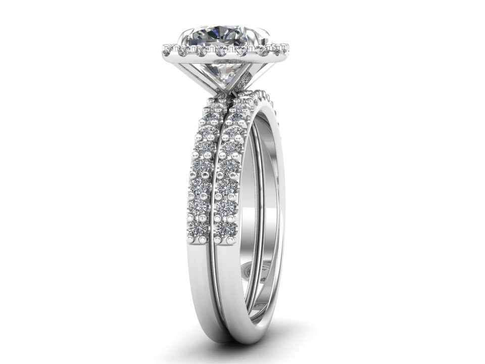 Cushion Cut Bridal Halo Ring Set