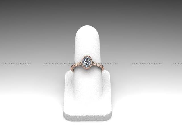Bezel Set Oval Cut Moissanite Rose Gold Ring