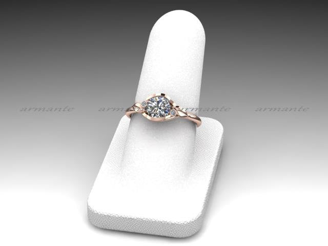 Moissanite And Diamond Ring, Unique Floral Engagement Ring