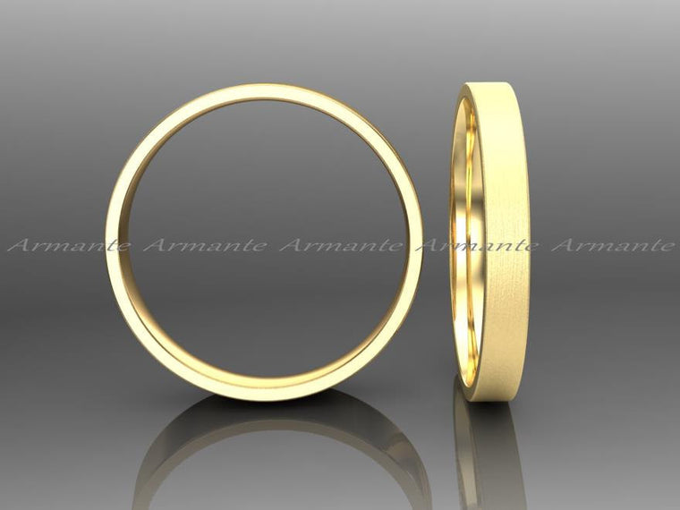 2.50mm Wide Gold Wedding Band 14k Yellow Solid Gold Wedding Ring Promise Ring