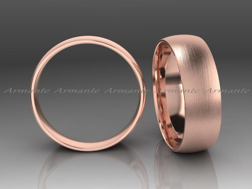 Half Rounded Rose Gold Wedding Band, 6.50mm Wide