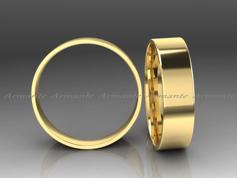 His Or Hers Gold Wedding Band, Hand Made 14k Solid Yellow Gold Wedding Ring 6.00mm Wide.