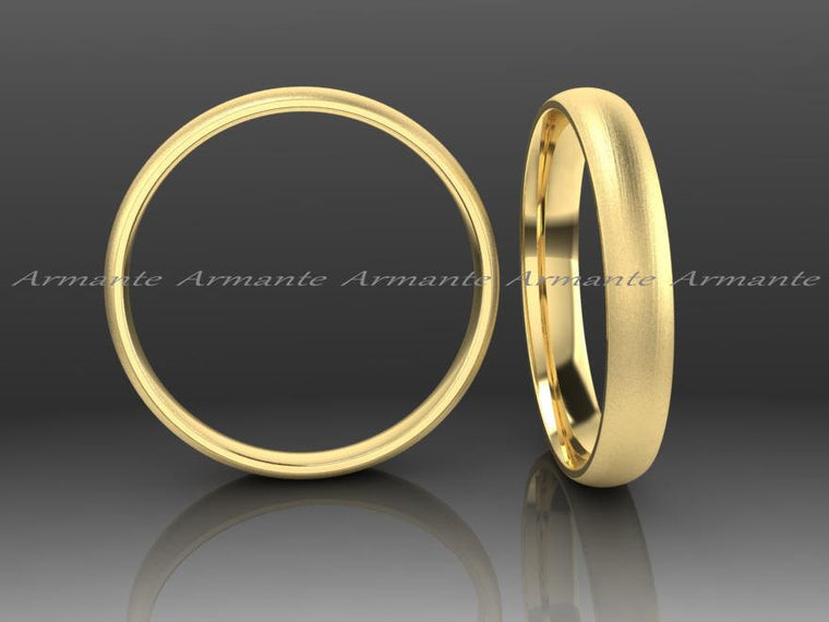 Half Rounded Yellow Gold Wedding Band, 3.00mm Wide