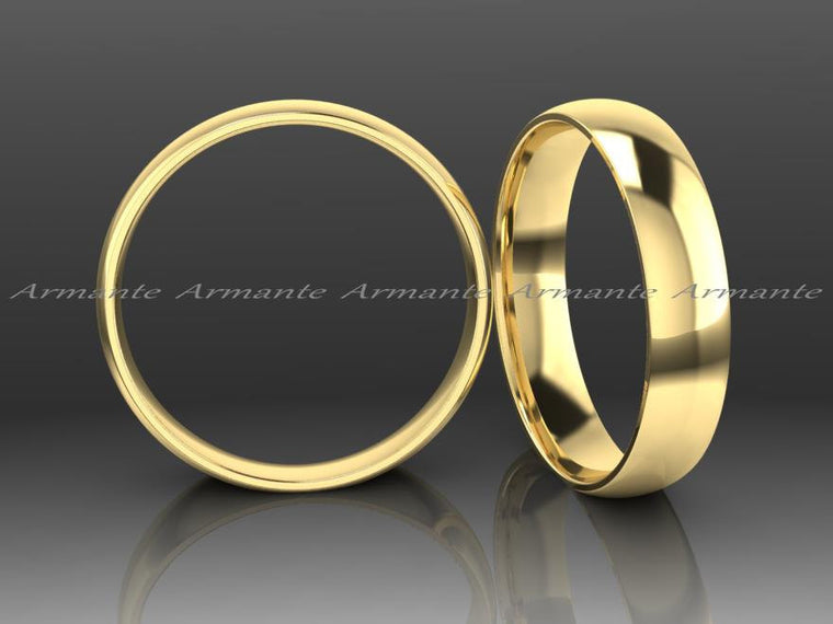 Dome Hand Made 14K Yellow Gold Wedding Band, 4.00mm Wide