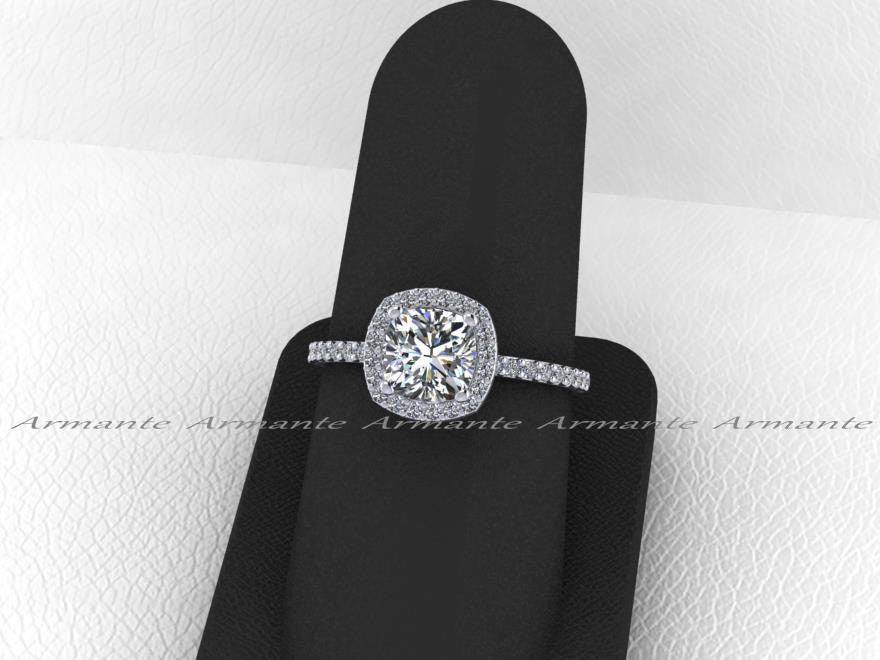 Cushion Forever One Moissanite Diamond Halo Engagement Ring