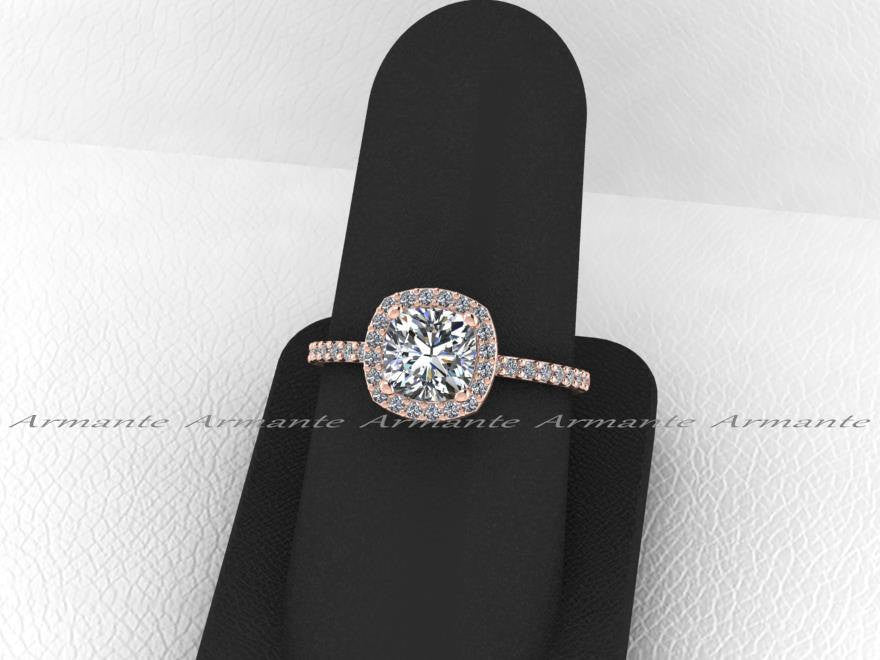 Rose Gold Forever Brilliant Moissanite Halo Engagement Ring