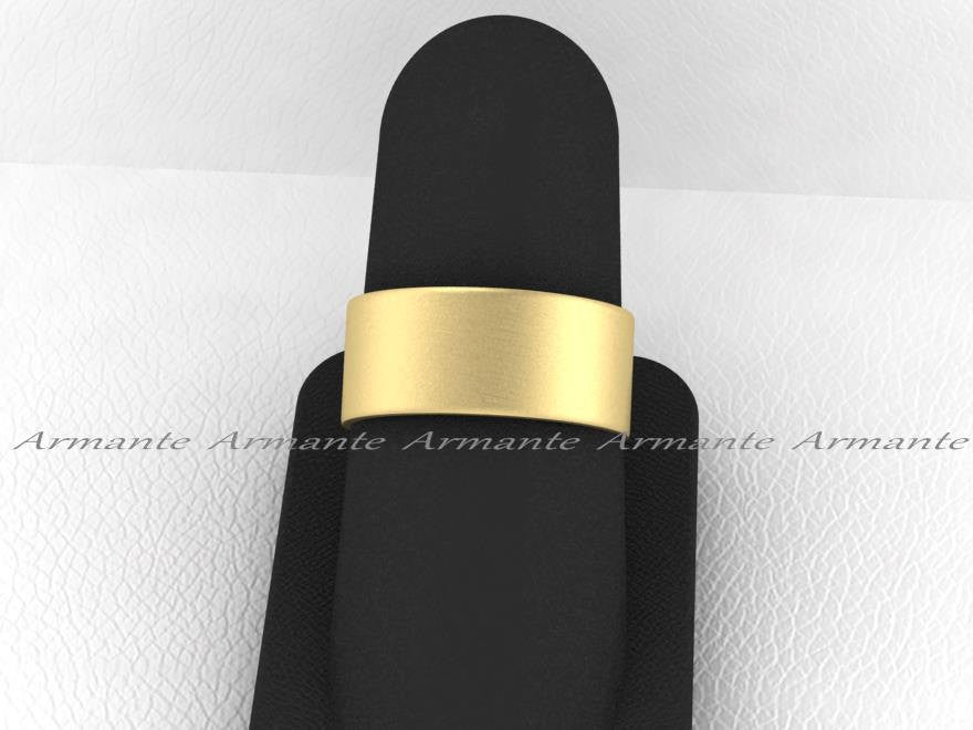 Male Wedding Ring 14K Yellow Gold 8.00mm Wide, Brushed Ring
