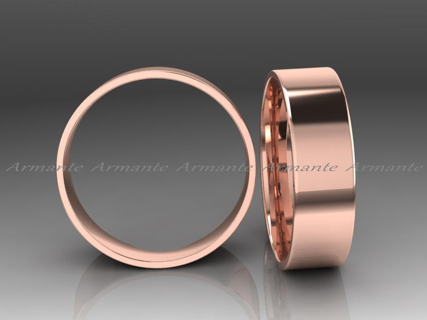 Hand Made Wedding Band Rose Gold Wedding Ring, 6.50mm Wide