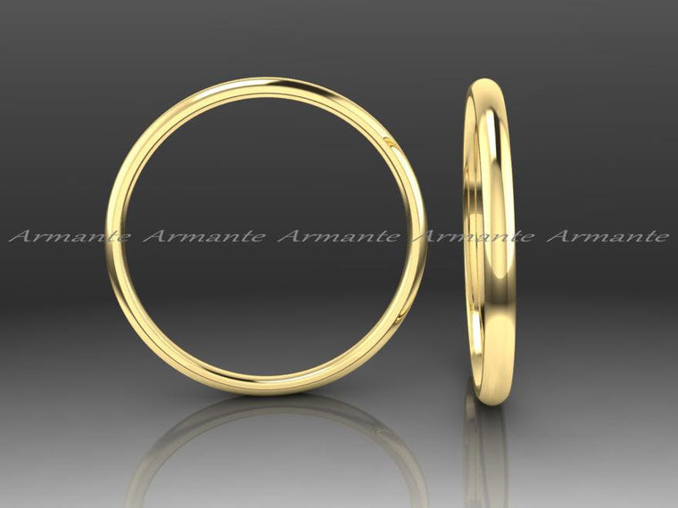 Half Rounded Wedding Band 1.50mm Wide, 14k Yellow Gold Wedding Band, Hand Made Wedding Band Stuck Band Promise Ring
