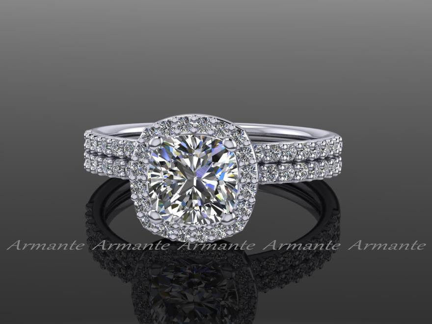 White Gold Moissanite and Diamond Halo Wedding Ring Set