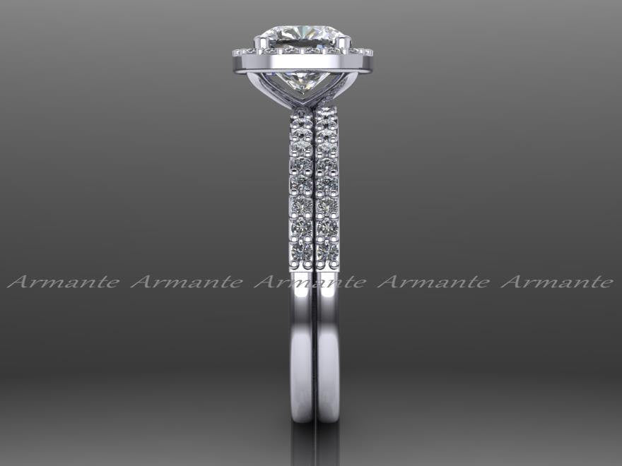 Moissanite Diamond Halo Engagement Ring Set 14K White Gold