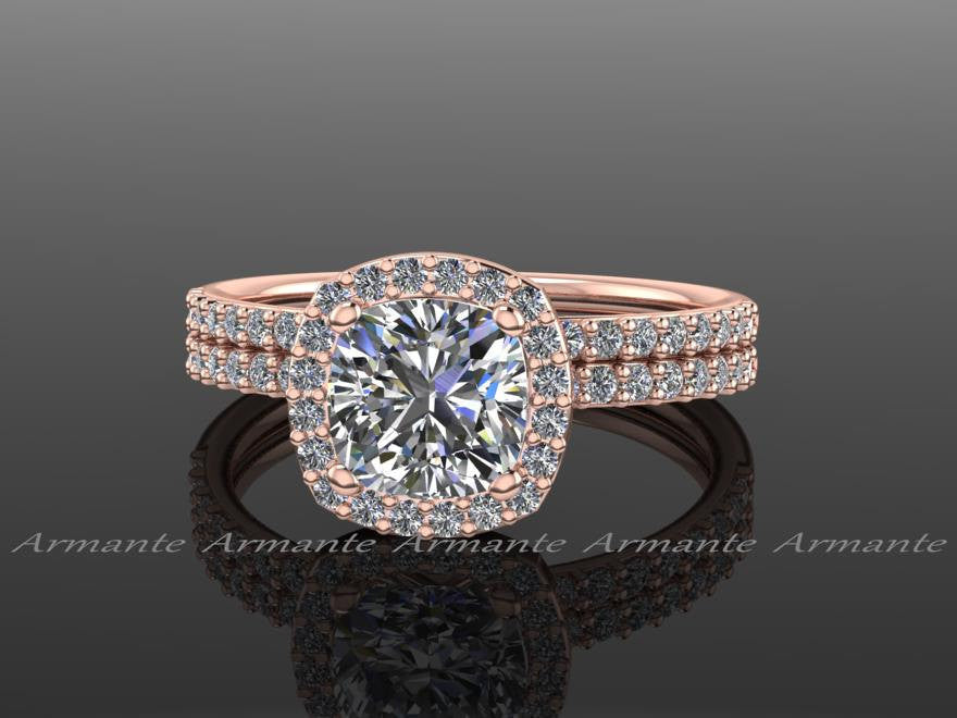 Forever Brilliant Moissanite & Diamonds Rose Gold Rings
