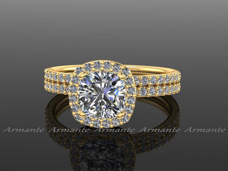 18K Yellow Gold Moissanite, Diamond Halo Engagement Ring Set