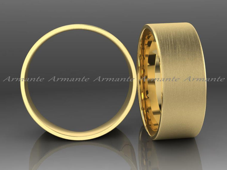 Men's 8mm Wide Wedding Band / Gold Wedding Ring / 14K Gold Wedding Band / Male Wedding Ring / Wedding and Engagement Rings / Brushed Finish