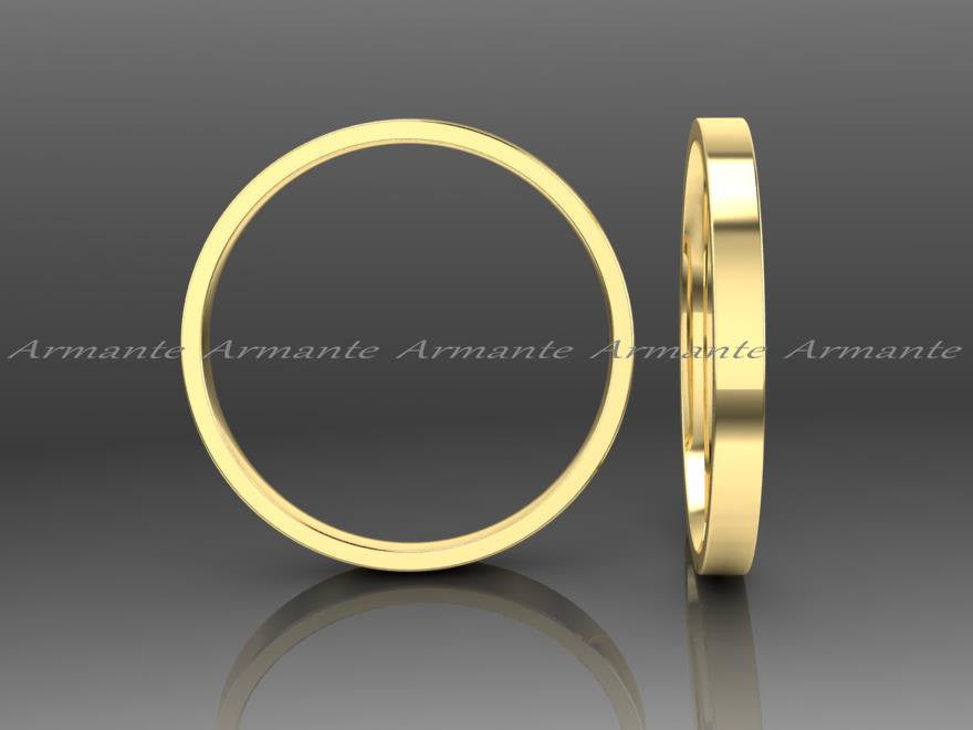 Womens Yellow Gold Wedding Band Ring 2.00mm Wide