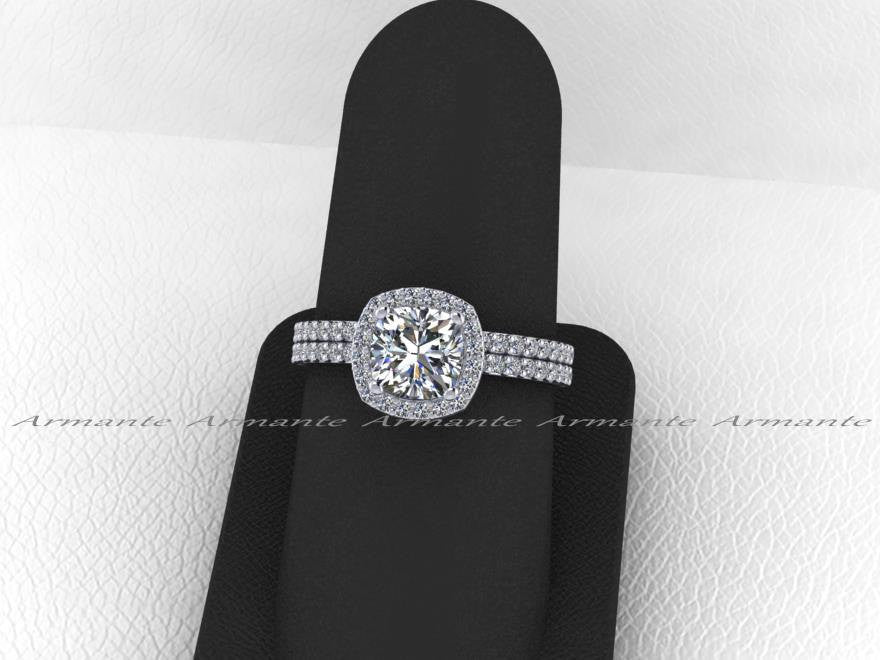 Moissanite and Diamond Halo Wedding Ring Set / Forever Brilliant Bridal Ring Set / 14K White Gold Engagement and Wedding Ring Set /RE145fb