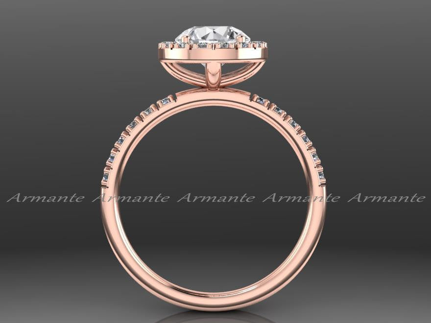 Rose Gold Halo Natural White Sapphire Engagement Ring, 14k Rose Gold Diamond Wedding Ring, Halo Ring, Wedding Ring Re00059