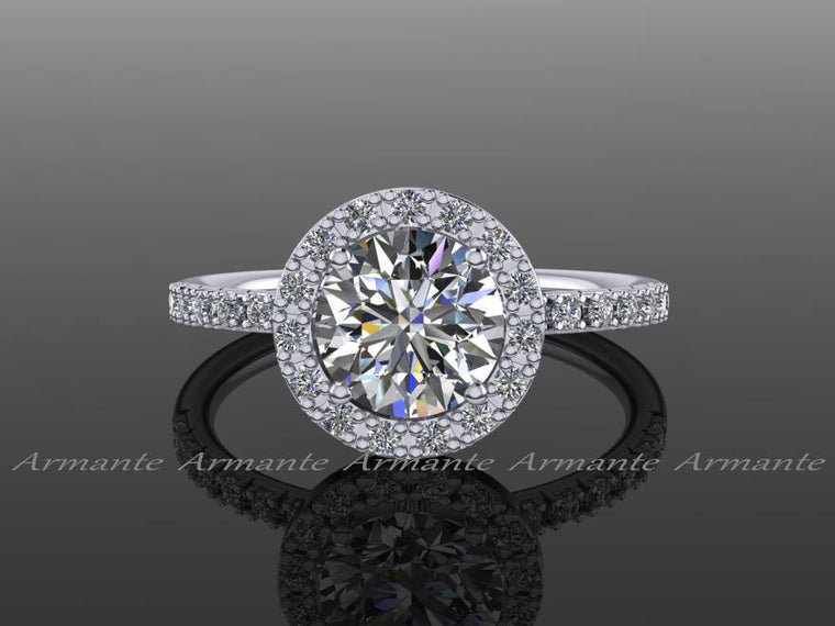 Round Halo Moissanite Engagement Ring, 14k White Diamond Engagement Ring, Halo Ring, Wedding Ring Re00059